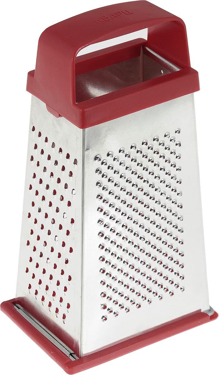 Терка Кварц, четырехгранная, со съемным дном, цвет: серебристый, красный, высота 21 смК01.001.03_серебристый, красныйЧетырехгранная терка Кварц, выполненная из высококачественной жести и пластика, станет незаменимыматрибутом приготовления пищи. На одном изделии представлены четыре вида терок - крупная,средняя, мелкая и нарезка ломтиками. Терка оснащена съемным дном и удобной ручкой.Терка Кварц станет достойным дополнением к вашему кухонному инвентарю. Высота терки: 21 см. Размер основания: 12 х 9 см.