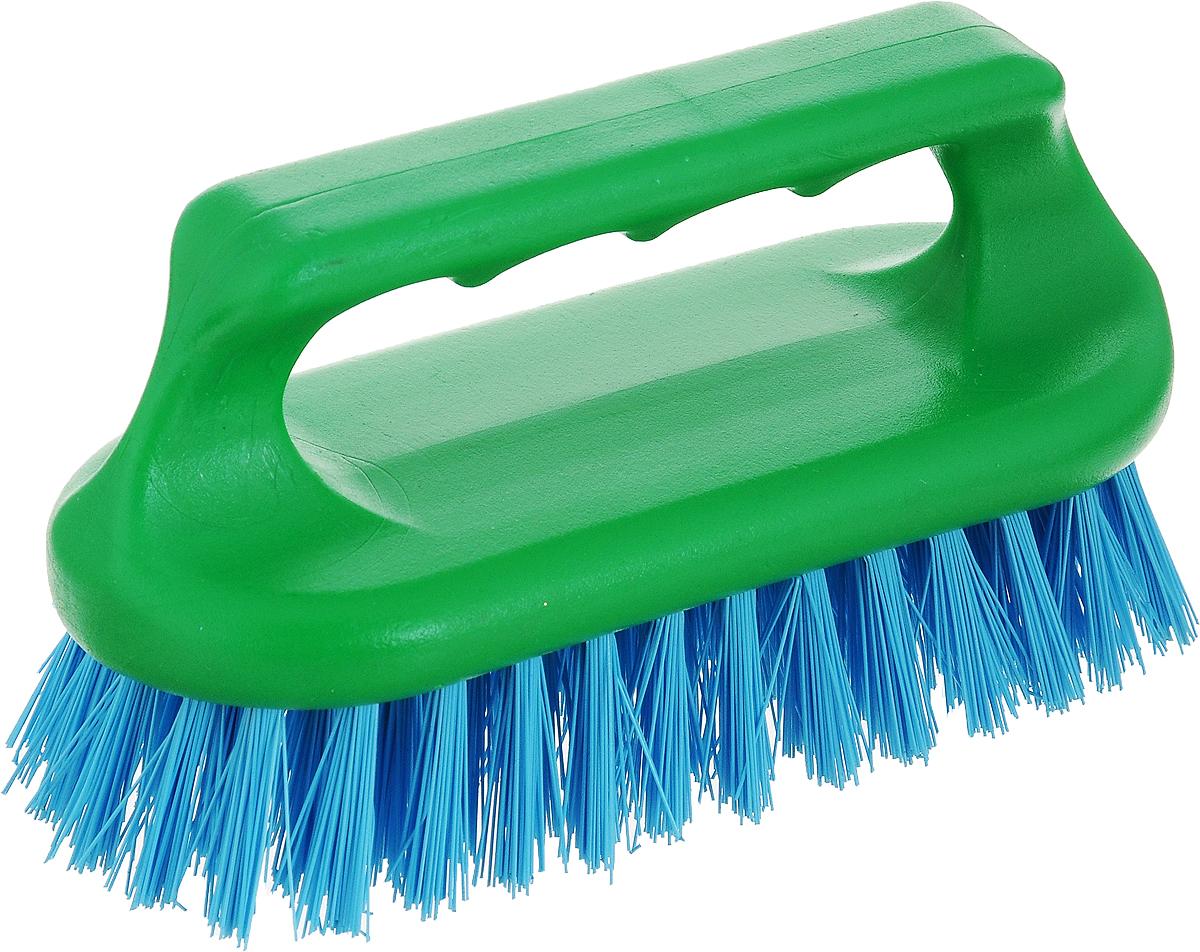 Щетка для ванныХозяюшка Мила Сальвия, цвет: зеленый, голубой24006_зеленый, голубойЩетка для ванны Хозяюшка Мила Сальвия, изготовленная из высокопрочного пластика, идеально подходит для снятия сильных загрязнений. Удобная ручка делает процесс чистки комфортным, а форма щетки позволяет хорошо чистить даже труднодоступные места. Щетина средней жесткости не повреждает поверхность. Размер щетки (с учетом ручки и щетины): 9 х 6 х 7,2 см.Длина щетины: 2,5 см.