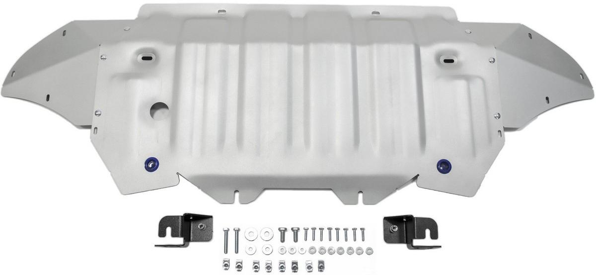 Защита радиатора и картера Rival для Audi Q7 2015-, алюминий 4 мм333.0329.1Защита радиатора и картера Rival для Audi Q7 V - 3.0; 3.0d 2015-н.в., алюминий 4 мм, крепеж в комплекте, 333.0329.1Алюминиевые защиты Rival надежно защищают днище вашего автомобиля от повреждений, например при наезде на бордюры, а также выполняют эстетическую функцию при установке на высокие автомобили.- Толщина алюминиевых защит в 2 раза толще стальных, а вес при этом меньше до 30%.- Отлично отводит тепло от двигателя своей поверхностью, что спасает двигатель от перегрева в летний период или при высоких нагрузках.- В отличие от стальных, алюминиевые защиты не поддаются коррозии, что гарантирует срок службы защит более 5 лет.- Покрываются порошковой краской, что надолго сохраняет первоначальный вид новой защиты и защищает от гальванической коррозии.- Глубокий штамп дополнительно усиливает конструкцию защиты.- Подштамповка в местах крепления защищает крепеж от срезания.- Технологические отверстия там, где они необходимы для смены масла и слива воды, оборудованные заглушками, надежно закрепленными на защите.- Помимо основной функции защиты от удара, конструкция так же существенно снижает попадание в моторный отсек влаги и грязи.В комплекте инструкция по установке.Уважаемые клиенты!Обращаем ваше внимание, на тот факт, что защита имеет форму, соответствующую модели данного автомобиля. Наличие глубокого штампа и лючков для смены фильтров/масла предусмотрено не на всех защитах. Фото служит для визуального восприятия товара.