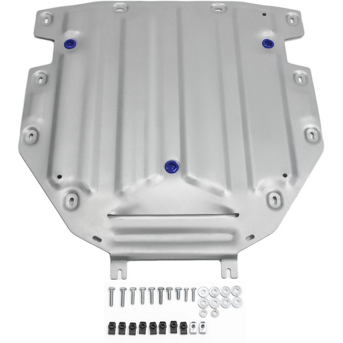Защита КПП Rival для Audi Q7 2015-, алюминий 4 мм333.0330.1Защита КПП Rival для Audi Q7 V - 3.0; 3.0d 2015-н.в., алюминий 4 мм, крепеж в комплекте, 333.0330.1Алюминиевые защиты Rival надежно защищают днище вашего автомобиля от повреждений, например при наезде на бордюры, а также выполняют эстетическую функцию при установке на высокие автомобили.- Толщина алюминиевых защит в 2 раза толще стальных, а вес при этом меньше до 30%.- Отлично отводит тепло от двигателя своей поверхностью, что спасает двигатель от перегрева в летний период или при высоких нагрузках.- В отличие от стальных, алюминиевые защиты не поддаются коррозии, что гарантирует срок службы защит более 5 лет.- Покрываются порошковой краской, что надолго сохраняет первоначальный вид новой защиты и защищает от гальванической коррозии.- Глубокий штамп дополнительно усиливает конструкцию защиты.- Подштамповка в местах крепления защищает крепеж от срезания.- Технологические отверстия там, где они необходимы для смены масла и слива воды, оборудованные заглушками, надежно закрепленными на защите.- Помимо основной функции защиты от удара, конструкция так же существенно снижает попадание в моторный отсек влаги и грязи.В комплекте инструкция по установке.Уважаемые клиенты!Обращаем ваше внимание, на тот факт, что защита имеет форму, соответствующую модели данного автомобиля. Наличие глубокого штампа и лючков для смены фильтров/масла предусмотрено не на всех защитах. Фото служит для визуального восприятия товара.