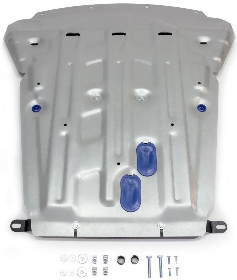 Защита картера Rival для BMW X5 2013- / BMW X6 2014-, алюминий 4 мм333.0523.1Защита картера Rival для BMW X5 V - 35i; 30d; 25d; 40d; 50i 2013-н.в./BMW X6 V - 30d; 35i; 50i 2014-н.в., алюминий 4 мм, крепеж в комплекте, 333.0523.1Алюминиевые защиты Rival надежно защищают днище вашего автомобиля от повреждений, например при наезде на бордюры, а также выполняют эстетическую функцию при установке на высокие автомобили.- Толщина алюминиевых защит в 2 раза толще стальных, а вес при этом меньше до 30%.- Отлично отводит тепло от двигателя своей поверхностью, что спасает двигатель от перегрева в летний период или при высоких нагрузках.- В отличие от стальных, алюминиевые защиты не поддаются коррозии, что гарантирует срок службы защит более 5 лет.- Покрываются порошковой краской, что надолго сохраняет первоначальный вид новой защиты и защищает от гальванической коррозии.- Глубокий штамп дополнительно усиливает конструкцию защиты.- Подштамповка в местах крепления защищает крепеж от срезания.- Технологические отверстия там, где они необходимы для смены масла и слива воды, оборудованные заглушками, надежно закрепленными на защите.- Помимо основной функции защиты от удара, конструкция так же существенно снижает попадание в моторный отсек влаги и грязи.В комплекте инструкция по установке.Уважаемые клиенты!Обращаем ваше внимание, на тот факт, что защита имеет форму, соответствующую модели данного автомобиля. Наличие глубокого штампа и лючков для смены фильтров/масла предусмотрено не на всех защитах. Фото служит для визуального восприятия товара.