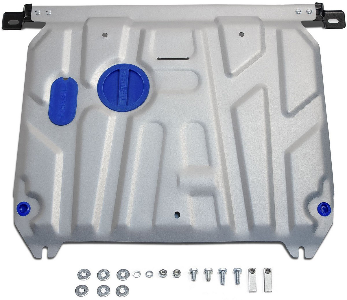 Защита картера и КПП Rival для Hyundai Solaris 2011-2016 / Kia Rio 2011-2017, алюминий 4 мм333.2343.1Защита картера и КПП Rival для Hyundai Solaris V - 1.4; 1.6 2011-2016/Kia Rio V - все 2011-2017, алюминий 4 мм, крепеж в комплекте, 333.2343.1Алюминиевые защиты Rival надежно защищают днище вашего автомобиля от повреждений, например при наезде на бордюры, а также выполняют эстетическую функцию при установке на высокие автомобили.- Толщина алюминиевых защит в 2 раза толще стальных, а вес при этом меньше до 30%.- Отлично отводит тепло от двигателя своей поверхностью, что спасает двигатель от перегрева в летний период или при высоких нагрузках.- В отличие от стальных, алюминиевые защиты не поддаются коррозии, что гарантирует срок службы защит более 5 лет.- Покрываются порошковой краской, что надолго сохраняет первоначальный вид новой защиты и защищает от гальванической коррозии.- Глубокий штамп дополнительно усиливает конструкцию защиты.- Подштамповка в местах крепления защищает крепеж от срезания.- Технологические отверстия там, где они необходимы для смены масла и слива воды, оборудованные заглушками, надежно закрепленными на защите.- Помимо основной функции защиты от удара, конструкция так же существенно снижает попадание в моторный отсек влаги и грязи.В комплекте инструкция по установке.Уважаемые клиенты!Обращаем ваше внимание, на тот факт, что защита имеет форму, соответствующую модели данного автомобиля. Наличие глубокого штампа и лючков для смены фильтров/масла предусмотрено не на всех защитах. Фото служит для визуального восприятия товара.