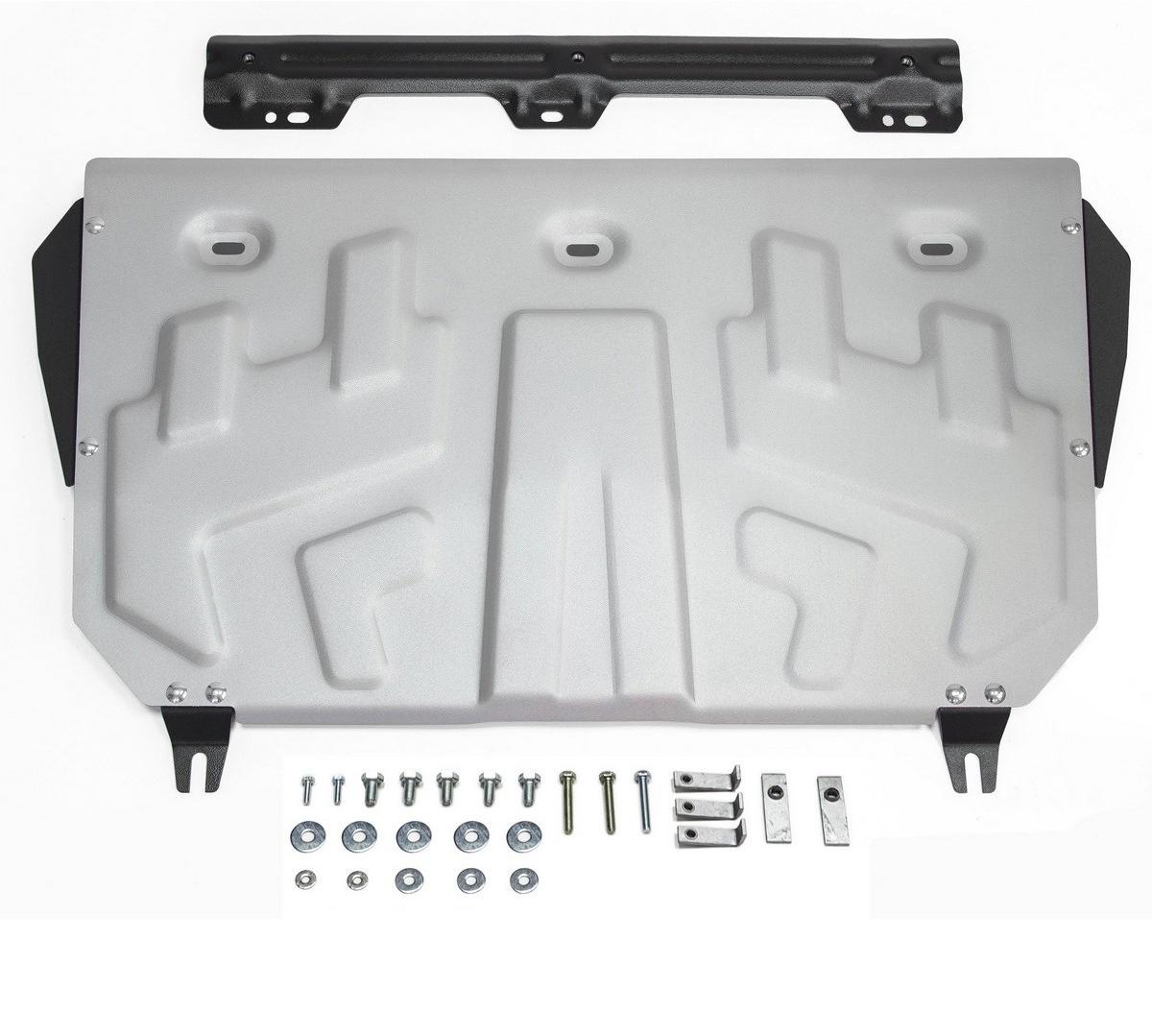 Защита картера и КПП Rival для Mazda 3 2013- / Mazda 6 2012-2015 2015- / Mazda CX-5 2011-2015 2015-2017 2017-, алюминий 4 мм333.3823.1Защита картера и КПП Rival для Mazda 3 V - 1.5; 1.6; 2.0 2013-н.в./Mazda 6 V - 2.0; 2.5 2015-н.в./Mazda CX-5 V - 2.0; 2.5 АКПП 2017-н.в./Mazda 6 V - 2.0; 2.5 2012-2015/Mazda CX-5 V - 2.0; 2.5 2011-2015/Mazda CX-5 V - 2.0; 2.5 2015-2017, алюминий 4 мм, крепеж в комплекте, 333.3823.1Алюминиевые защиты Rival надежно защищают днище вашего автомобиля от повреждений, например при наезде на бордюры, а также выполняют эстетическую функцию при установке на высокие автомобили.- Толщина алюминиевых защит в 2 раза толще стальных, а вес при этом меньше до 30%.- Отлично отводит тепло от двигателя своей поверхностью, что спасает двигатель от перегрева в летний период или при высоких нагрузках.- В отличие от стальных, алюминиевые защиты не поддаются коррозии, что гарантирует срок службы защит более 5 лет.- Покрываются порошковой краской, что надолго сохраняет первоначальный вид новой защиты и защищает от гальванической коррозии.- Глубокий штамп дополнительно усиливает конструкцию защиты.- Подштамповка в местах крепления защищает крепеж от срезания.- Технологические отверстия там, где они необходимы для смены масла и слива воды, оборудованные заглушками, надежно закрепленными на защите.- Помимо основной функции защиты от удара, конструкция так же существенно снижает попадание в моторный отсек влаги и грязи.В комплекте инструкция по установке.Уважаемые клиенты!Обращаем ваше внимание, на тот факт, что защита имеет форму, соответствующую модели данного автомобиля. Наличие глубокого штампа и лючков для смены фильтров/масла предусмотрено не на всех защитах. Фото служит для визуального восприятия товара.