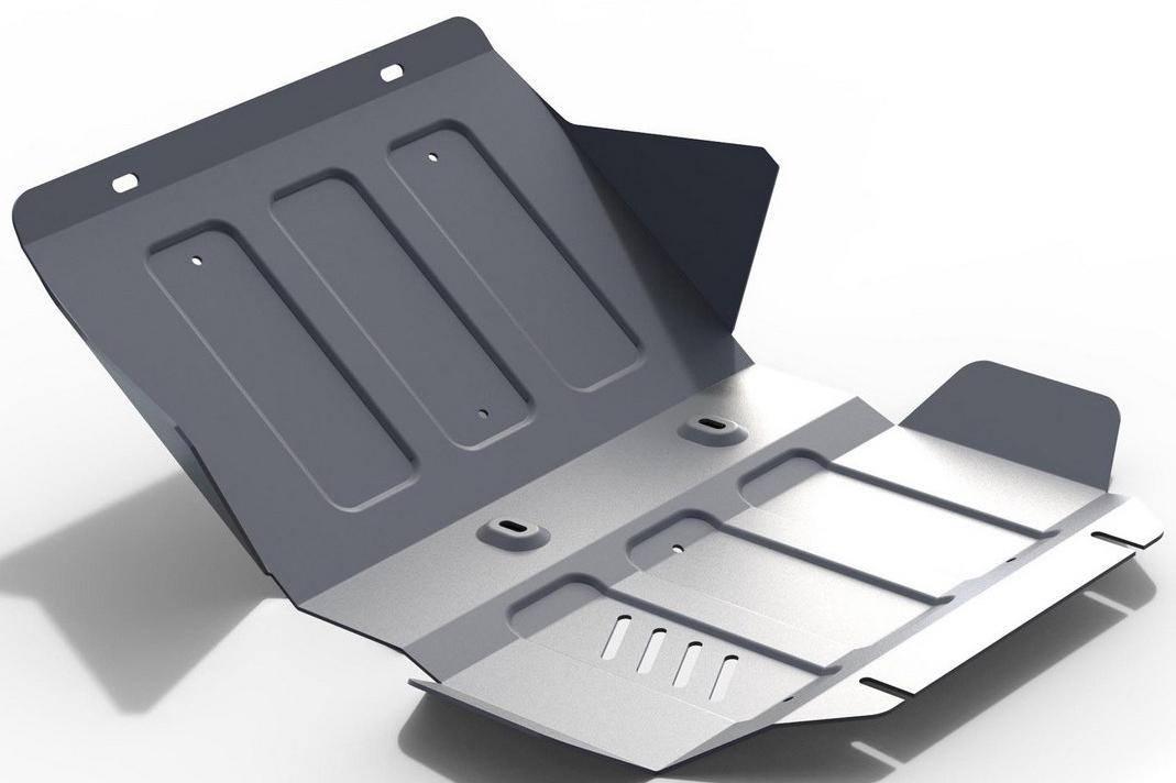 Защита картера Rival для Cadillac Escalade 2015- / Chevrolet Tahoe 2014-, алюминий 4 мм333.0808.1Защита картера Rival для Cadillac Escalade V - 6.2 2015-н.в./Chevrolet Tahoe V - 6.2 2014-н.в., алюминий 4 мм, крепеж в комплекте, 333.0808.1Алюминиевые защиты Rival надежно защищают днище вашего автомобиля от повреждений, например при наезде на бордюры, а также выполняют эстетическую функцию при установке на высокие автомобили.- Толщина алюминиевых защит в 2 раза толще стальных, а вес при этом меньше до 30%.- Отлично отводит тепло от двигателя своей поверхностью, что спасает двигатель от перегрева в летний период или при высоких нагрузках.- В отличие от стальных, алюминиевые защиты не поддаются коррозии, что гарантирует срок службы защит более 5 лет.- Покрываются порошковой краской, что надолго сохраняет первоначальный вид новой защиты и защищает от гальванической коррозии.- Глубокий штамп дополнительно усиливает конструкцию защиты.- Подштамповка в местах крепления защищает крепеж от срезания.- Технологические отверстия там, где они необходимы для смены масла и слива воды, оборудованные заглушками, надежно закрепленными на защите.- Помимо основной функции защиты от удара, конструкция так же существенно снижает попадание в моторный отсек влаги и грязи.В комплекте инструкция по установке.Уважаемые клиенты!Обращаем ваше внимание, на тот факт, что защита имеет форму, соответствующую модели данного автомобиля. Наличие глубокого штампа и лючков для смены фильтров/масла предусмотрено не на всех защитах. Фото служит для визуального восприятия товара.