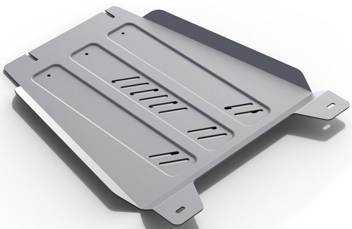 Защита КПП Rival для Cadillac Escalade 2015- / Chevrolet Tahoe 2014-, алюминий 4 мм333.0809.1Защита КПП Rival для Cadillac Escalade V - 6.2 2015-н.в./Chevrolet Tahoe V - 6.2 2014-н.в., алюминий 4 мм, крепеж в комплекте, 333.0809.1Алюминиевые защиты Rival надежно защищают днище вашего автомобиля от повреждений, например при наезде на бордюры, а также выполняют эстетическую функцию при установке на высокие автомобили.- Толщина алюминиевых защит в 2 раза толще стальных, а вес при этом меньше до 30%.- Отлично отводит тепло от двигателя своей поверхностью, что спасает двигатель от перегрева в летний период или при высоких нагрузках.- В отличие от стальных, алюминиевые защиты не поддаются коррозии, что гарантирует срок службы защит более 5 лет.- Покрываются порошковой краской, что надолго сохраняет первоначальный вид новой защиты и защищает от гальванической коррозии.- Глубокий штамп дополнительно усиливает конструкцию защиты.- Подштамповка в местах крепления защищает крепеж от срезания.- Технологические отверстия там, где они необходимы для смены масла и слива воды, оборудованные заглушками, надежно закрепленными на защите.- Помимо основной функции защиты от удара, конструкция так же существенно снижает попадание в моторный отсек влаги и грязи.В комплекте инструкция по установке.Уважаемые клиенты!Обращаем ваше внимание, на тот факт, что защита имеет форму, соответствующую модели данного автомобиля. Наличие глубокого штампа и лючков для смены фильтров/масла предусмотрено не на всех защитах. Фото служит для визуального восприятия товара.