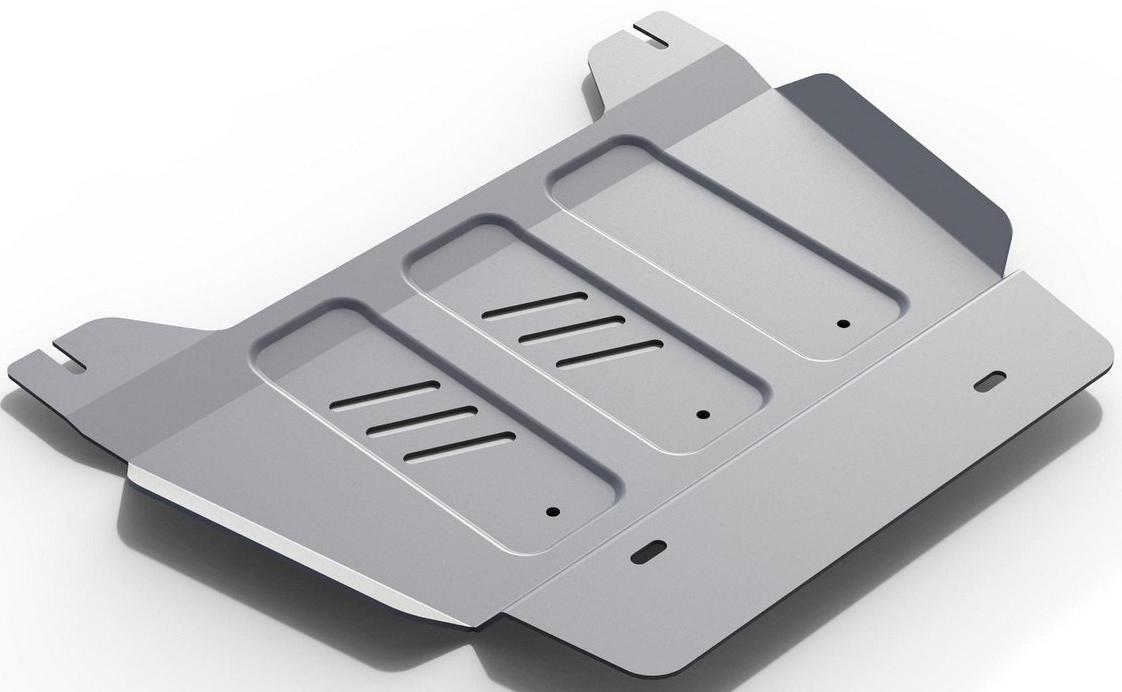 Защита РК Rival для Cadillac Escalade 2015- / Chevrolet Tahoe 2014-, алюминий 4 мм333.0810.1Защита РК Rival для Cadillac Escalade V - 6.2 2015-н.в./Chevrolet Tahoe V - 6.2 2014-н.в., алюминий 4 мм, крепеж в комплекте, 333.0810.1Алюминиевые защиты Rival надежно защищают днище вашего автомобиля от повреждений, например при наезде на бордюры, а также выполняют эстетическую функцию при установке на высокие автомобили.- Толщина алюминиевых защит в 2 раза толще стальных, а вес при этом меньше до 30%.- Отлично отводит тепло от двигателя своей поверхностью, что спасает двигатель от перегрева в летний период или при высоких нагрузках.- В отличие от стальных, алюминиевые защиты не поддаются коррозии, что гарантирует срок службы защит более 5 лет.- Покрываются порошковой краской, что надолго сохраняет первоначальный вид новой защиты и защищает от гальванической коррозии.- Глубокий штамп дополнительно усиливает конструкцию защиты.- Подштамповка в местах крепления защищает крепеж от срезания.- Технологические отверстия там, где они необходимы для смены масла и слива воды, оборудованные заглушками, надежно закрепленными на защите.- Помимо основной функции защиты от удара, конструкция так же существенно снижает попадание в моторный отсек влаги и грязи.В комплекте инструкция по установке.Уважаемые клиенты!Обращаем ваше внимание, на тот факт, что защита имеет форму, соответствующую модели данного автомобиля. Наличие глубокого штампа и лючков для смены фильтров/масла предусмотрено не на всех защитах. Фото служит для визуального восприятия товара.