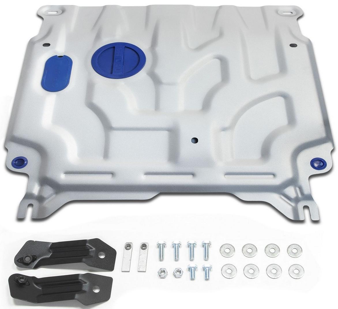 Защита картера и КПП Rival для Hyundai Solaris 2017- / Kia Rio 2017-, алюминий 4 мм333.2369.1Защита картера и КПП Rival для Hyundai Solaris V - 1.4; 1.6 2017-н.в./Kia Rio V - 1.6 МКПП 2017-н.в., алюминий 4 мм, крепеж в комплекте, 333.2369.1Алюминиевые защиты Rival надежно защищают днище вашего автомобиля от повреждений, например при наезде на бордюры, а также выполняют эстетическую функцию при установке на высокие автомобили.- Толщина алюминиевых защит в 2 раза толще стальных, а вес при этом меньше до 30%.- Отлично отводит тепло от двигателя своей поверхностью, что спасает двигатель от перегрева в летний период или при высоких нагрузках.- В отличие от стальных, алюминиевые защиты не поддаются коррозии, что гарантирует срок службы защит более 5 лет.- Покрываются порошковой краской, что надолго сохраняет первоначальный вид новой защиты и защищает от гальванической коррозии.- Глубокий штамп дополнительно усиливает конструкцию защиты.- Подштамповка в местах крепления защищает крепеж от срезания.- Технологические отверстия там, где они необходимы для смены масла и слива воды, оборудованные заглушками, надежно закрепленными на защите.- Помимо основной функции защиты от удара, конструкция так же существенно снижает попадание в моторный отсек влаги и грязи.В комплекте инструкция по установке.Уважаемые клиенты!Обращаем ваше внимание, на тот факт, что защита имеет форму, соответствующую модели данного автомобиля. Наличие глубокого штампа и лючков для смены фильтров/масла предусмотрено не на всех защитах. Фото служит для визуального восприятия товара.