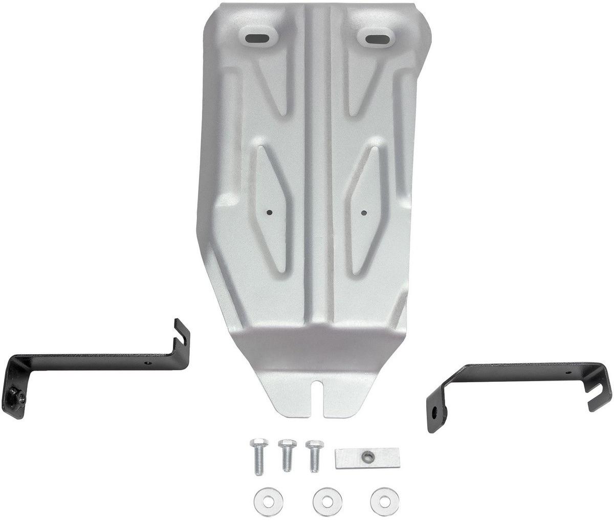 Защита редуктора Rival для Nissan Terrano 2014-2016 2016- / Renault Kaptur 2016- / Renault Duster 2011-2015 2015-, алюминий 4 мм333.4719.1Защита редуктора Rival для Nissan Terrano V - 1.6; 2.0 4WD 2016-н.в./Nissan Terrano V - 1.6; 2.0 4WD 2014-2016/Renault Duster V - 1.6; 2.0; 1.5d 4WD 2015-н.в./Renault Kaptur V - 2.0 4WD 2016-н.в./Renault Duster V - 1.6; 2.0; 1.5d 4WD 2011-2015, алюминий 4 мм, крепеж в комплекте, 333.4719.1Алюминиевые защиты Rival надежно защищают днище вашего автомобиля от повреждений, например при наезде на бордюры, а также выполняют эстетическую функцию при установке на высокие автомобили.- Толщина алюминиевых защит в 2 раза толще стальных, а вес при этом меньше до 30%.- Отлично отводит тепло от двигателя своей поверхностью, что спасает двигатель от перегрева в летний период или при высоких нагрузках.- В отличие от стальных, алюминиевые защиты не поддаются коррозии, что гарантирует срок службы защит более 5 лет.- Покрываются порошковой краской, что надолго сохраняет первоначальный вид новой защиты и защищает от гальванической коррозии.- Глубокий штамп дополнительно усиливает конструкцию защиты.- Подштамповка в местах крепления защищает крепеж от срезания.- Технологические отверстия там, где они необходимы для смены масла и слива воды, оборудованные заглушками, надежно закрепленными на защите.- Помимо основной функции защиты от удара, конструкция так же существенно снижает попадание в моторный отсек влаги и грязи.В комплекте инструкция по установке.Уважаемые клиенты!Обращаем ваше внимание, на тот факт, что защита имеет форму, соответствующую модели данного автомобиля. Наличие глубокого штампа и лючков для смены фильтров/масла предусмотрено не на всех защитах. Фото служит для визуального восприятия товара.