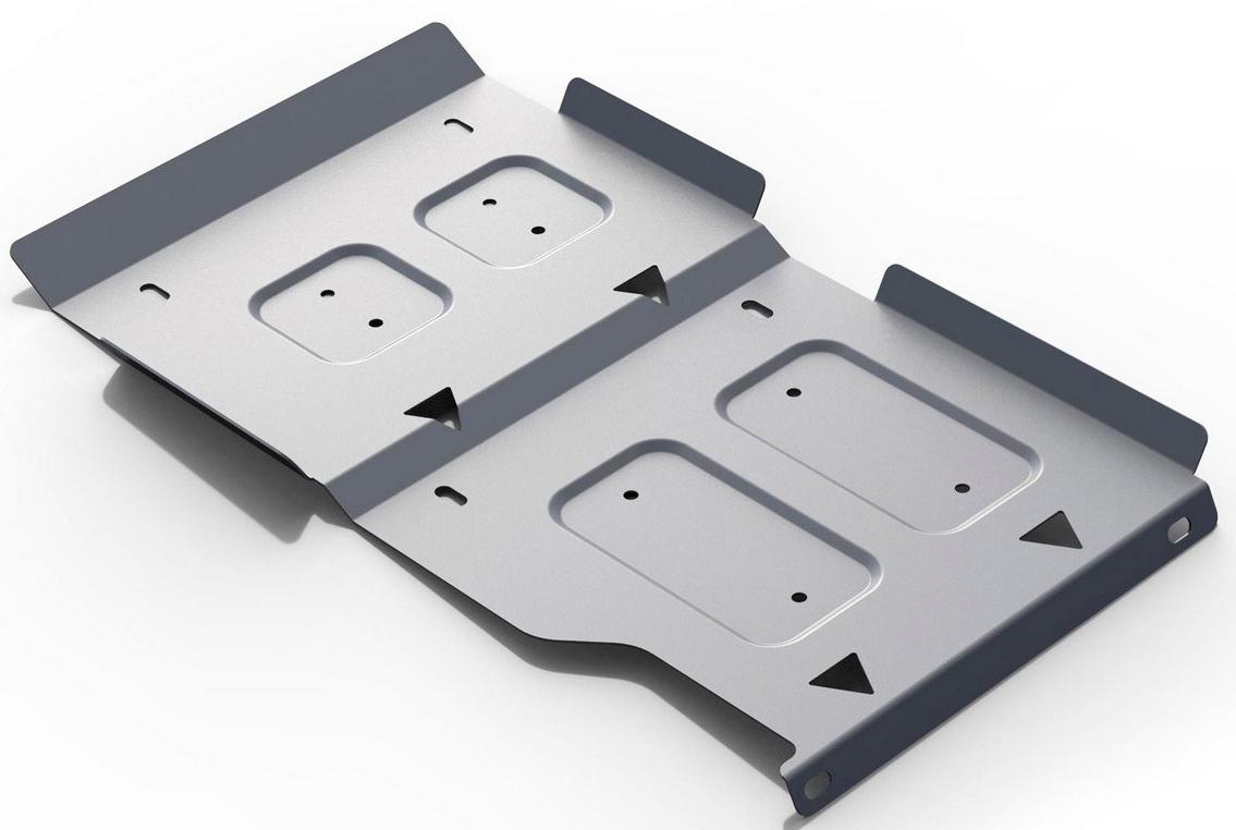 Защита КПП и РК Rival, для Lada 4х4, алюминий 3 мм333.6020.1Защита КПП и РК для Lada 4х4 V - все 2001-, крепеж в комплекте, алюминий 3 мм, Rival Алюминиевые защиты картера Rival надежно защищают днище вашего автомобиля от повреждений, например при наезде на бордюры, а также выполняют эстетическую функцию при установке на высокие автомобили. - Толщина алюминиевых защит в 2 раза толще стальных, а вес при этом меньше до 30%. - Отлично отводит тепло от двигателя своей поверхностью, что спасает двигатель от перегрева в летний период или при высоких нагрузках. - В отличие от стальных, алюминиевые защиты не поддаются коррозии, что гарантирует срок службы защит более 5 лет. - Покрываются порошковой краской, что надолго сохраняет первоначальный вид новой защиты и защищает от гальванической коррозии. - Глубокий штамп дополнительно усиливает конструкцию защиты. - Подштамповка в местах крепления защищает крепеж от срезания. - Технологические отверстия там, где они необходимы для смены масла и слива воды, оборудованные заглушками, надежно закрепленными на защите. Уважаемые клиенты! Обращаем ваше внимание, на тот факт, что защита имеет форму, соответствующую модели данного автомобиля. Фото служит для визуального восприятия товара.