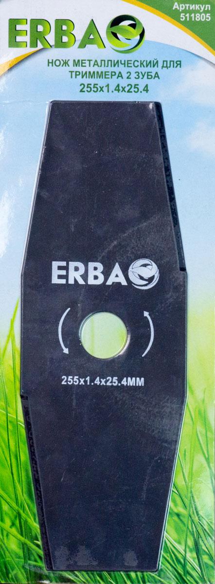"""Нож """"Erba"""", выполненный из стали, имеет два режущих зубца.  Изделие предназначено для любого вида триммера, где  предусмотрена установка ножа. Нож """"Erba"""" используется для  скашивания жесткой и сухой травы. При соблюдении правил  эксплуатации данный нож прослужит длительное время.   Количество зубцов: 2 шт."""
