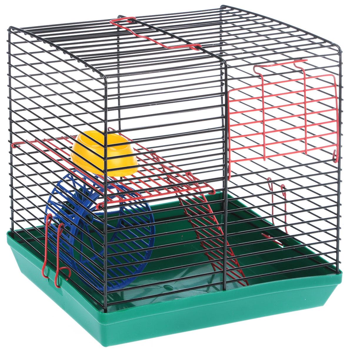 Клетка для грызунов  Велес , 2-этажная, цвет: зеленый, черный, 26 х 14 х 25 см