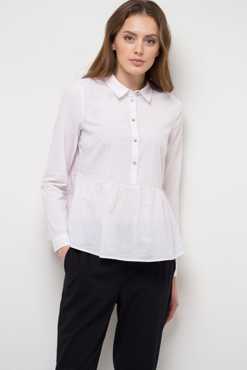 Блузка женская Sela, цвет: белый. B-312/784-8111. Размер 48 свитер sela sela se001emkja65