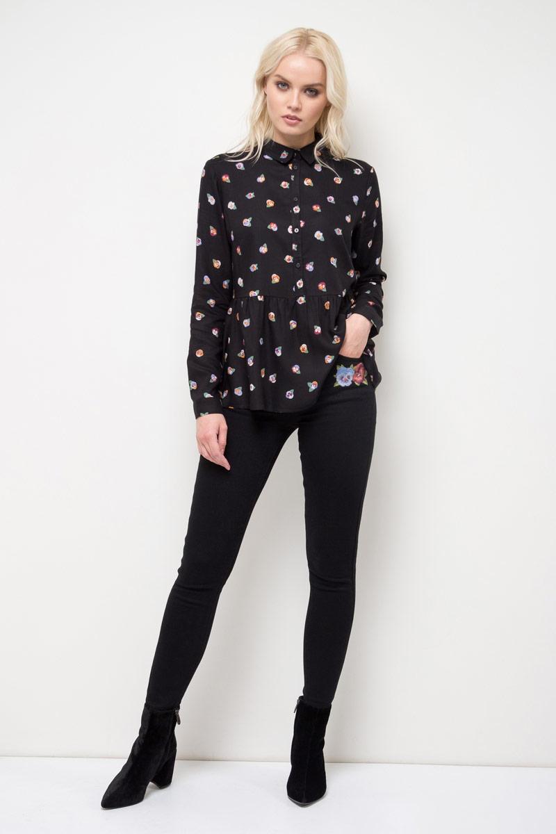 Блузка женская Sela, цвет: черный. B-312/785-8111. Размер 42 sela шарф