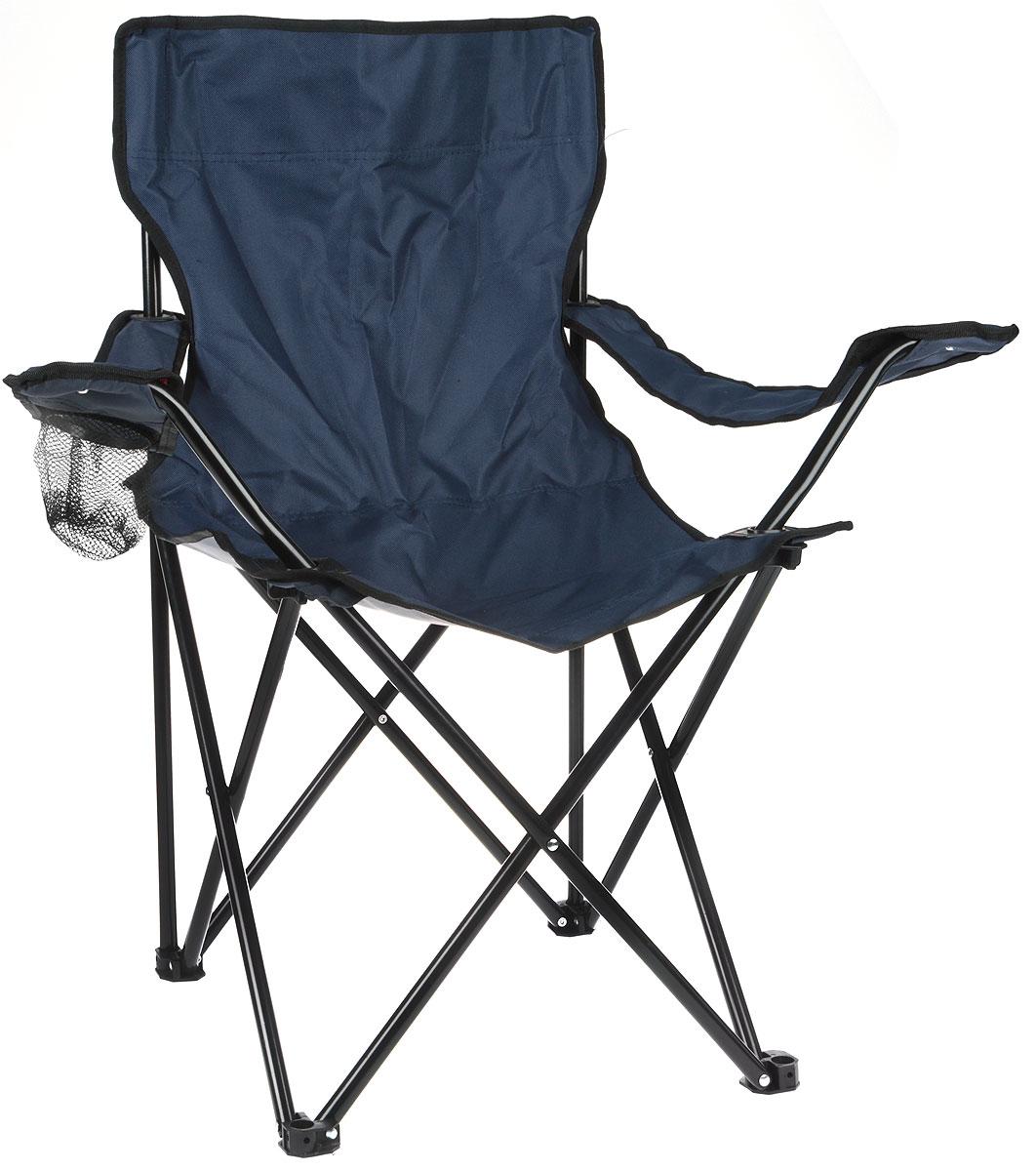 "Кресло складное ""Wildman"", с подлокотником, цвет: темно-синий, 77 х 50 х 80 см"
