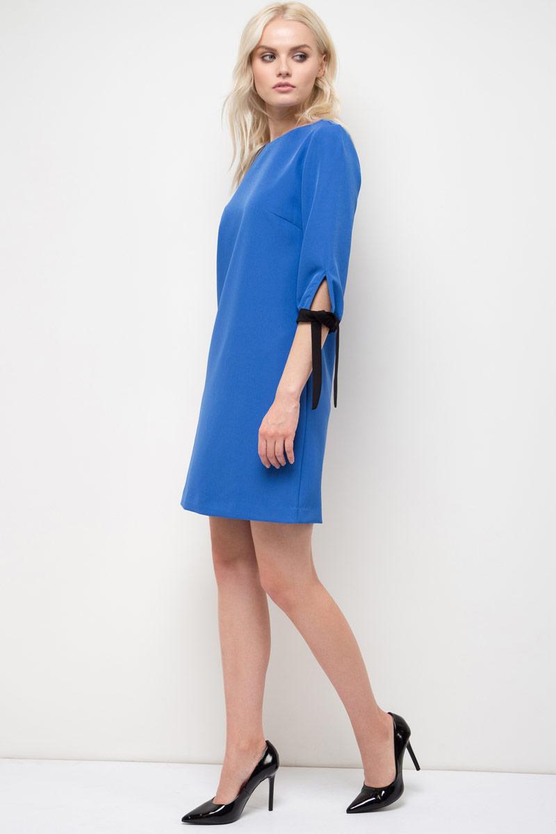 Платье Sela, цвет: ярко-синий. D-117/862-8110. Размер 44D-117/862-8110Платье Sela выполнено из полиэстера и эластана. Модель с круглым вырезом горловины и длинными рукавами.