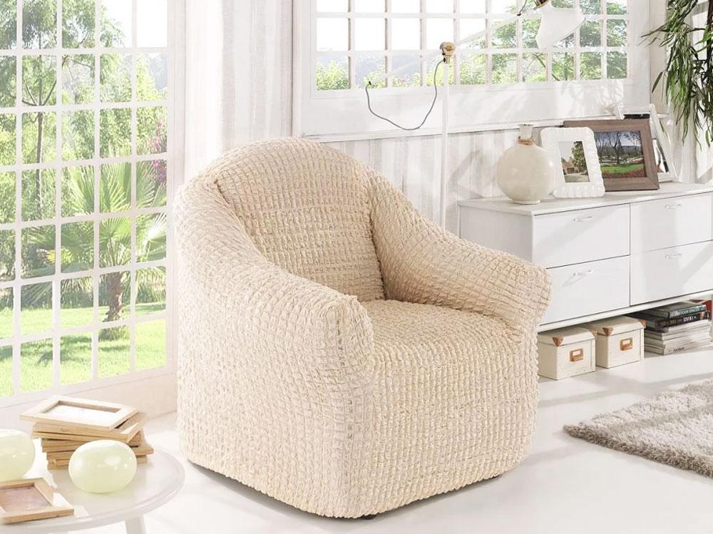 Чехол для кресла Karna, без юбки, цвет: натуральный. 2653/CHAR0062653/CHAR006_натуральныйЧехол для кресла Karna позволяет произвести изменение дизайна интерьера снебольшими затратами, а так же сохранить мебель впервозданном состоянии. Чехол для кресла Karna будет прекрасно смотретьсяпри любом оформлении комнаты.В комплект входят фиксаторы позволяющие надежно закрепить чехол на вашеймебели. Они вставляются в расстояние между спинкой исиденьем, фиксируя чехол в одном положении, и не позволяют ему съезжать итерять форму. Фиксаторы особенно необходимы в том случае,если у вас кожаная мебель или мебель нестандартных габаритов.