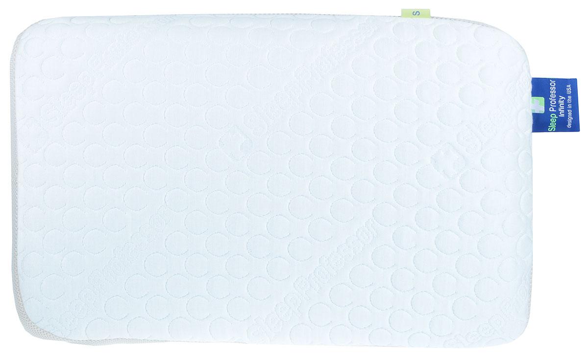 Подушка Sleep Professor Infinitу, S, цвет: белый70.002580Анатомическая подушка Infinity обеспечивает усиленную поддержку шейногоотдела позвоночника за счет двух внутренних вставок с угольной пропиткой. Подходит для тех, кто привык кболее упругим подушкам. Обладает всеми свойствами классических анатомических подушек.