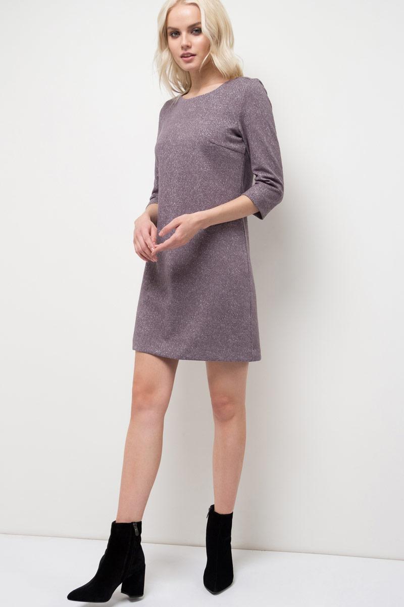 Платье Sela, цвет: графит. DK-117/1178-8120. Размер XL (50)DK-117/1178-8120Платье Sela выполнено из качественного материала. Модель с круглым вырезом горловины сзади застегивается на молнию.