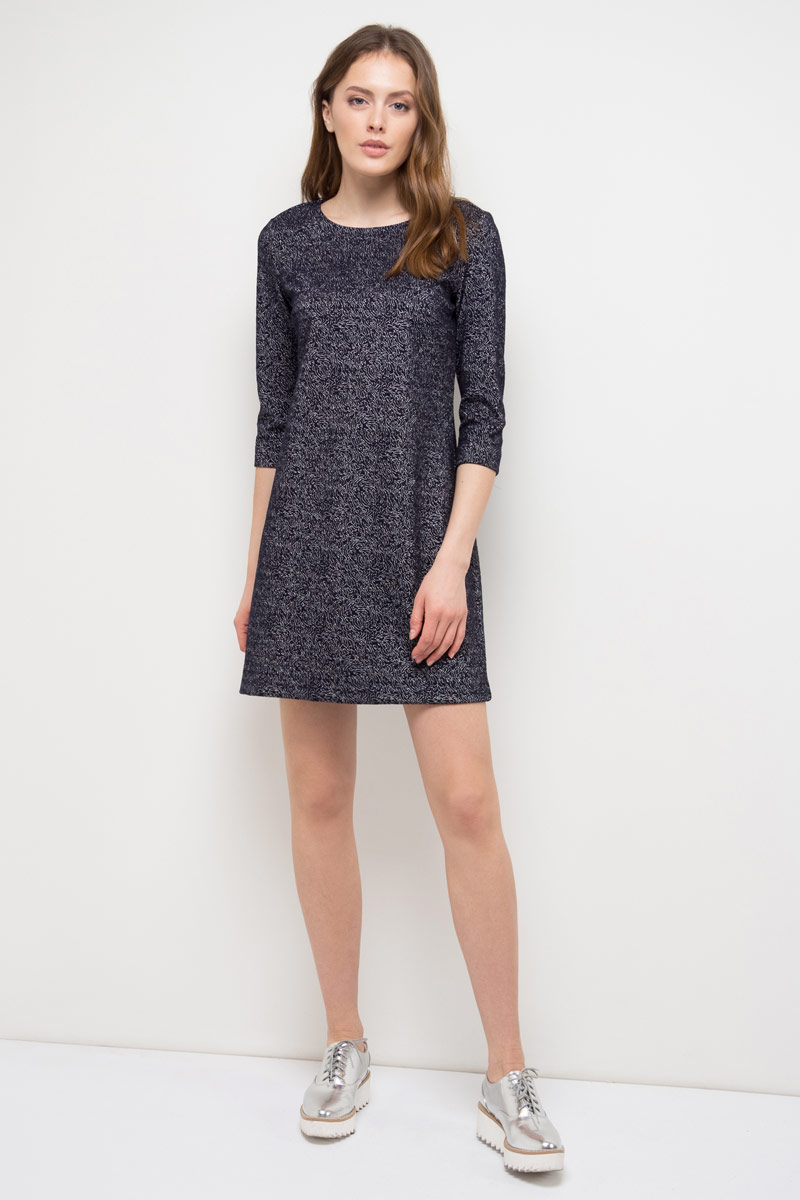 Платье Sela, цвет: темно-синий. DK-117/1178-8120. Размер S (44)DK-117/1178-8120Платье Sela выполнено из качественного материала. Модель с круглым вырезом горловины сзади застегивается на молнию.