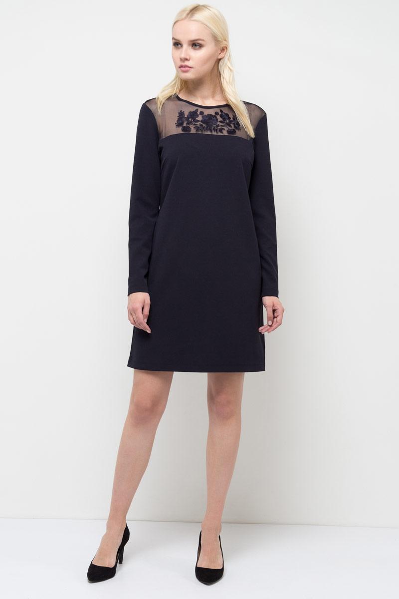 Платье Sela, цвет: темно-синий. DK-117/1181-8120. Размер S (44)DK-117/1181-8120Платье Sela выполнено из полиэстера и эластана. Модель с круглым вырезом горловины и длинными рукавами.