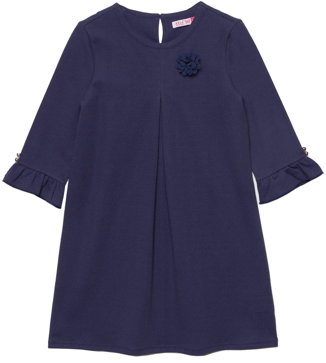 Платье для девочки Sela, цвет: кобальтовый. DK-617/885-8110. Размер 146DK-617/885-8110Платье для девочки Sela выполнено из качественного материала. Модель с круглым вырезом горловины сзади застегивается на пуговицу.