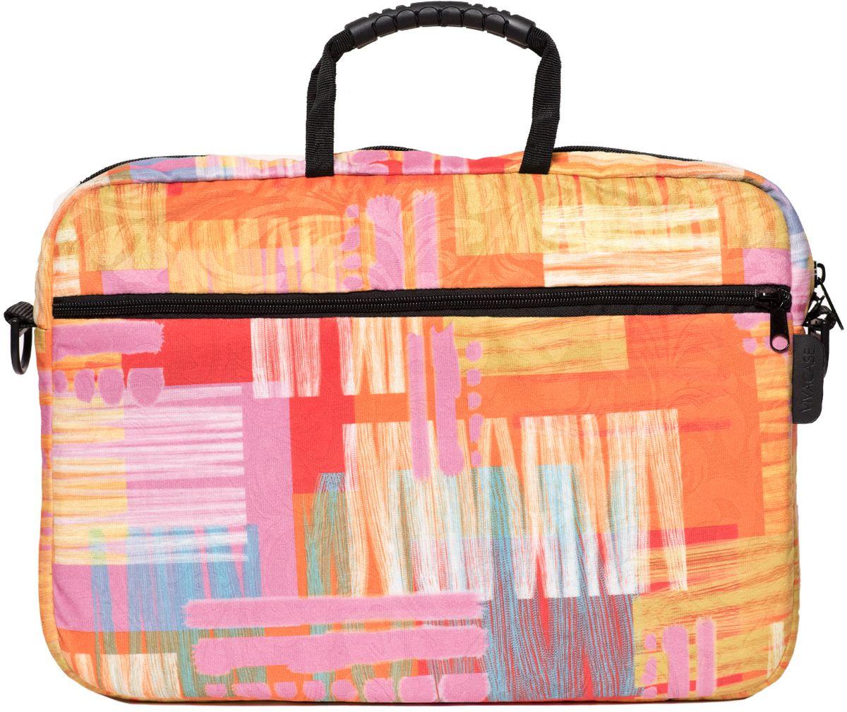 Vivacase Harlequin, Orange сумка для ноутбука 15,6VCN-CHC15-orСумка для ноутбуков диагональю 15.6 дюймов стильная и эргономичная. Стильный дизайн неизбежно привлечет внимание и поможет ее владельцу выделиться из толпы.Сумка для ноутбука сшита из бархатистой мебельной ткани устойчивой к загрязнениям и истиранию. Не стоить бояться, что изделие быстро потеряет товарный вид. При изготовлении аксессуаров Vivacase используются только качественные материалы от проверенных поставщиков. Сумке не страшны ни грязь, ни осадки благодаря специальной водо - и грязеотталкивающей пропитке. Ее достаточно протереть влажной тряпочкой, чтобы избавиться от пятен.Основа сумки - специальный пористый противоударный материал двойного сложения, который отлично защищает ноутбук от тряски в дороге и механических повреждений. При этом сумка очень легкая и компактная. С ней удобно путешествовать. К сумке прилагается широкий наплечный ремень. Во вместительном внешнем кармане на молнии могут поместить документы формата А4 и другие аксессуары.
