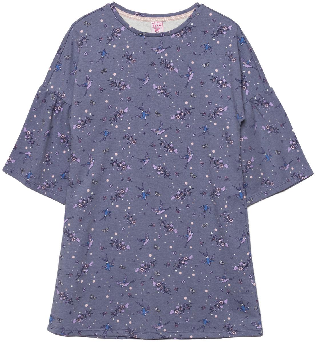 Платье для девочки Sela, цвет: джинсовый. DK-617/950-8110. Размер 140DK-617/950-8110Платье для девочки Sela выполнено из хлопка и полиэстера. Модель с круглым вырезом горловины оформлена оригинальным принтом.