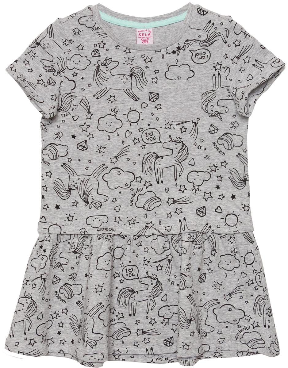 Платье для девочки Sela, цвет: серый меланж. Dks-517/412-8110. Размер 98Dks-517/412-8110Платье для девочки Sela выполнено из хлопка и эластана. Модель с круглым вырезом горловины и короткими рукавами.