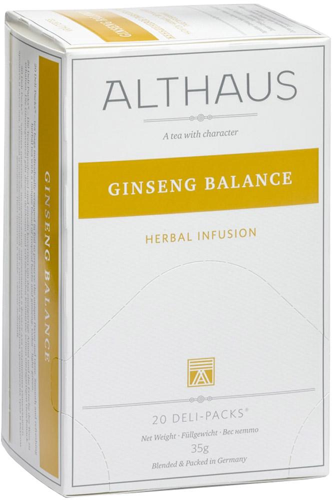 Althaus Ginseng Balance чай травяной в пакетиках, 20 штTALTHB-DP0024Ginseng Balance - нежный и освежающим травяной чай с уникальным ароматом и вкусом женьшеня. Этот купаж богат полезными для здоровья травами. Женьшень, мята, лимонник, ройбуш и вербена улучшают самочувствие, повышают работоспособность и дарят заряд жизненных сил.Ginseng Balance прекрасно подойдет для утреннего бодрящего чаепития.В каждой упаковке находится по 20 пакетиков чая для чашек. Страна: Германия.Температура воды: 85-100 °С.Время заваривания: 4-5 мин.Цвет в чашке: светло-зеленый.Althaus - премиальная чайная коллекция. Чай, ингредиенты и ароматизаторы для своих купажей компания Althaus получает от тщательно выбираемых чайных садов, мировых поставщиков высококачественных сублимированных фруктов и трав, а также ведущих европейских производителей ароматизаторов. Пакетик Deli Pack представляет собой порционный двухкамерный мешочек из фильтр-бумаги, запаянный в специальный термоконверт с алюминиевой фольгой. Материал конвертов, в которые запаиваются мешочки с чаем Althaus состоит из четырех слоев:белая бумага с нанесением изображенияполиэтилен пониженной плотностиалюминиевая фольгаполипропилен.Благодаря такому составу упаковка Deli Packs исключает потерю первоначального вкуса и аромата чая в процессе транспортировки и хранения. Deli Packs прекрасно подходят для:домашнего использованияресторанов самообслуживаниябанкетовзавтраков в гостиницахлюбых других случаев, когда необходимо быстро и без особых усилий заварить чашку качественного чая.Уважаемые клиенты! Обращаем ваше внимание на то, что упаковка может иметь несколько видов дизайна. Поставка осуществляется в зависимости от наличия на складе.Всё о чае: сорта, факты, советы по выбору и употреблению. Статья OZON Гид