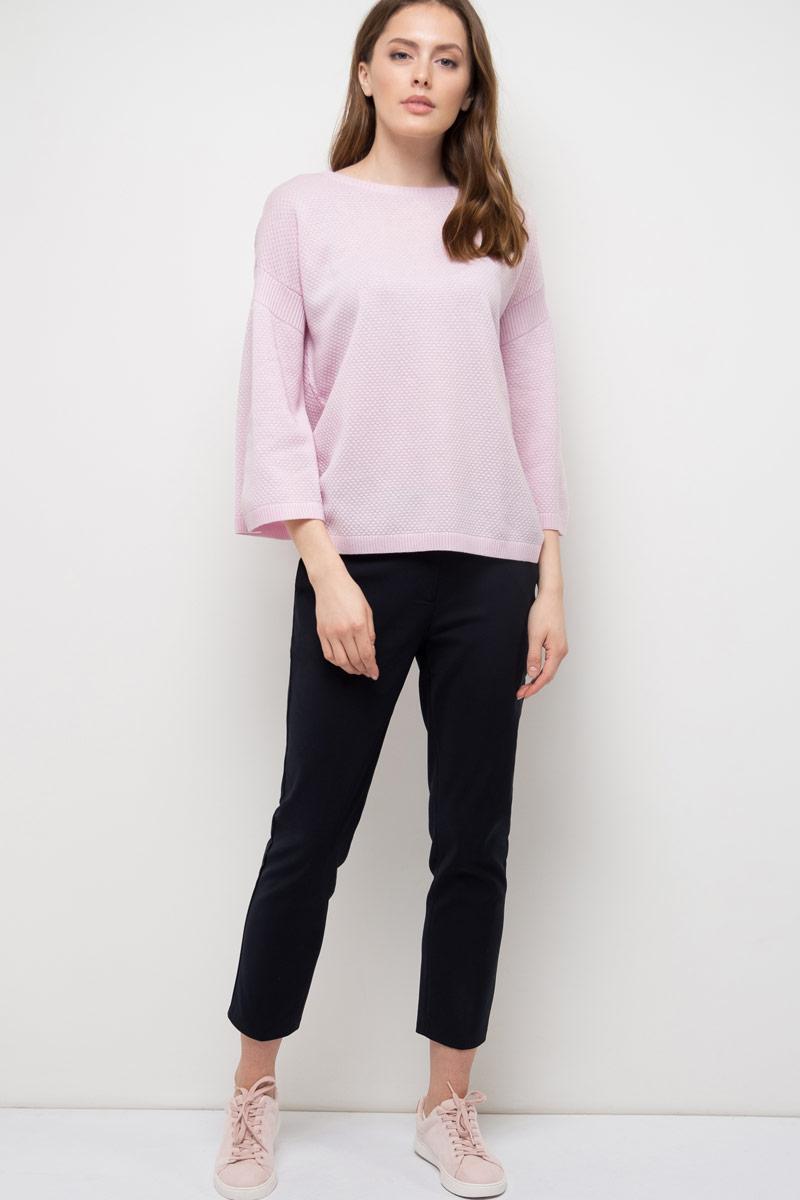 Джемпер женский Sela, цвет: нежно-розовый. JR-114/851-8110. Размер S (44)JR-114/851-8110Джемпер женский Sela выполнен из акрила и хлопка. Модель с круглым вырезом горловины и длинными рукавами.