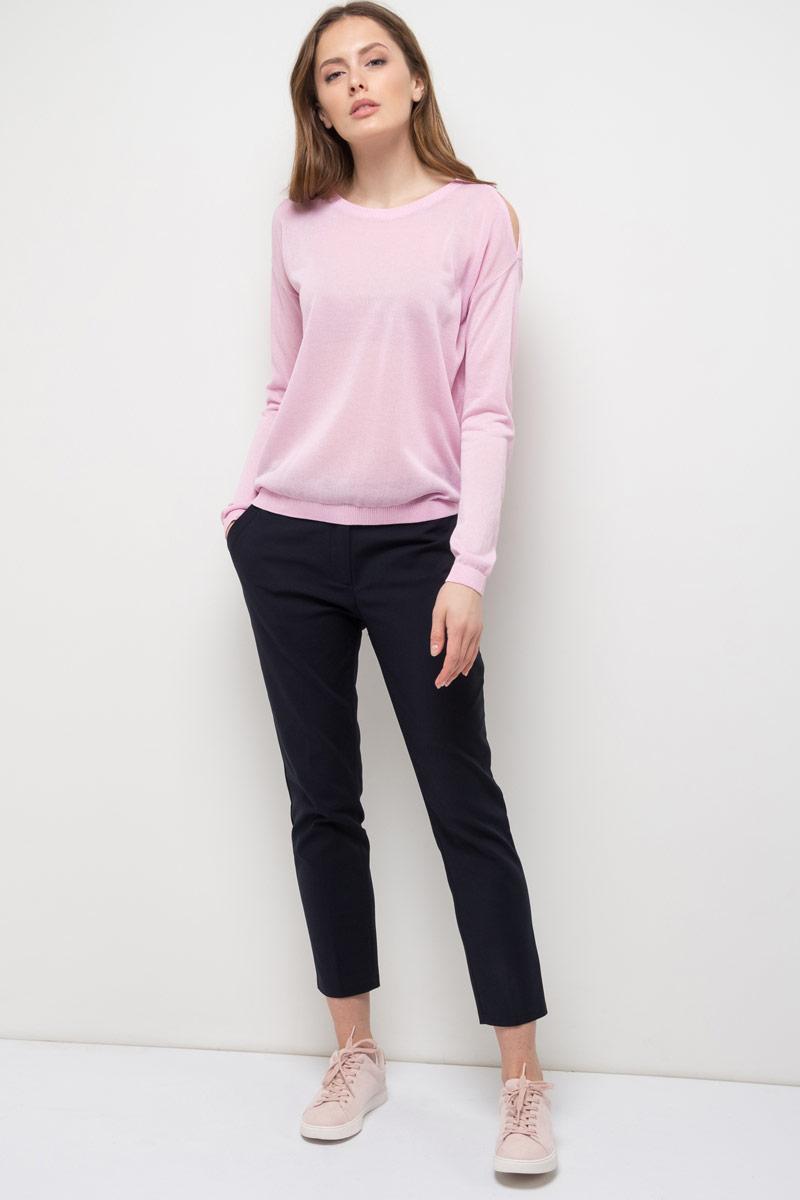 Джемпер женский Sela, цвет: нежно-розовый меланж. JR-114/852-8110. Размер XS (42)JR-114/852-8110Джемпер женский Sela выполнен из вискозы и полиэстера. Модель с круглым вырезом горловины и длинными рукавами.