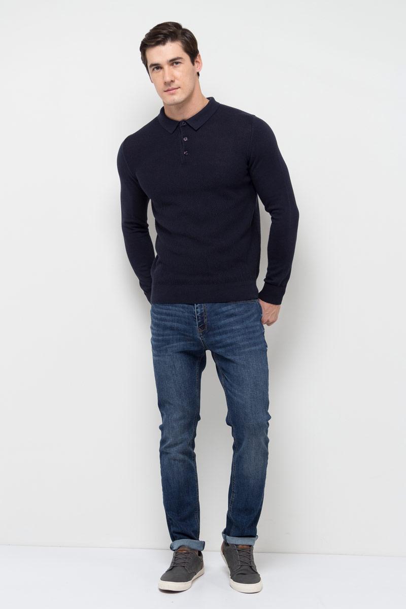 Джемпер мужской Sela, цвет: темно-синий. JR-214/1023-8110. Размер M (48)JR-214/1023-8110Джемпер мужской Sela выполнен из хлопка. Модель с отложным воротником и длинными рукавами.