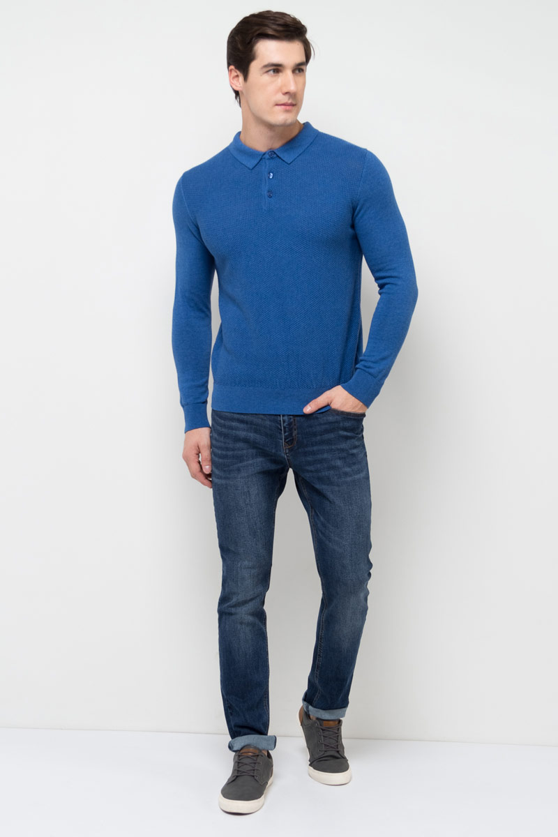 Джемпер мужской Sela, цвет: ярко-синий меланж. JR-214/1023-8110. Размер XXL (54) джемпер мужской karff цвет зеленый желтый 88000 06 размер xxl 56