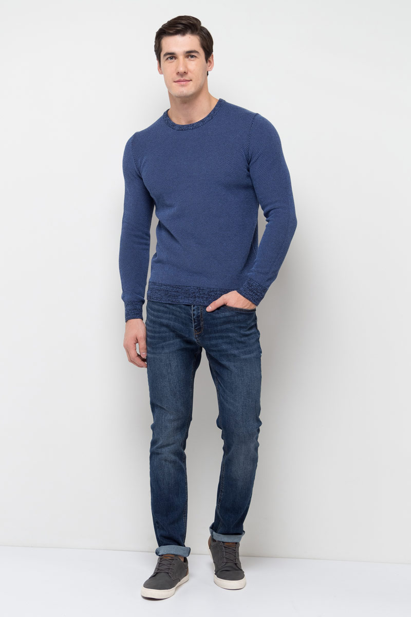 Джемпер мужской Sela, цвет: темно-синий. JR-214/1031-8110. Размер L (50)JR-214/1031-8110Джемпер мужской Sela выполнен из натурального хлопка. Модель с круглым вырезом горловины и длинными рукавами.