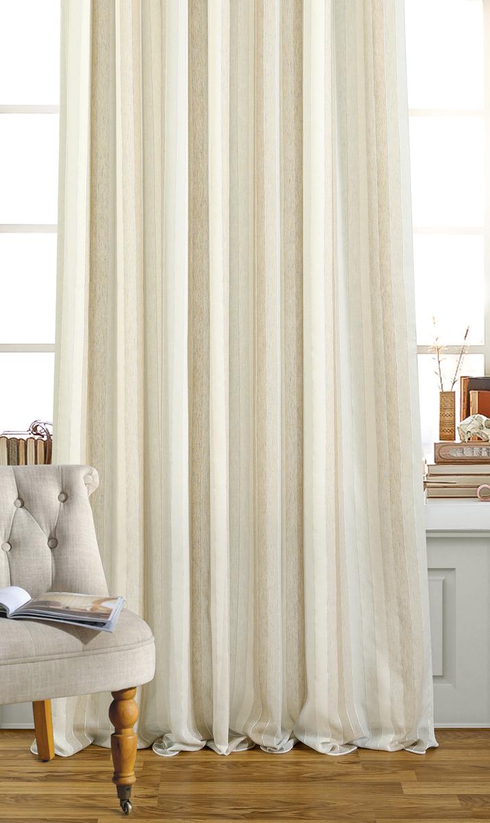 Штора Garden, на ленте, цвет: бежевый, серый, высота 260 см. С W2484 V5С W2484 V5Изящная штора для гостиной Garden выполнена из ткани имитация льна, с вертикальнымиполосами, бежево-серого цвета. Приятная текстура и цвет штор привлекут к себе внимание иорганично впишутся в интерьер помещения. Штора крепится на карниз при помощи ленты,которая поможет красиво и равномерно задрапировать верх.