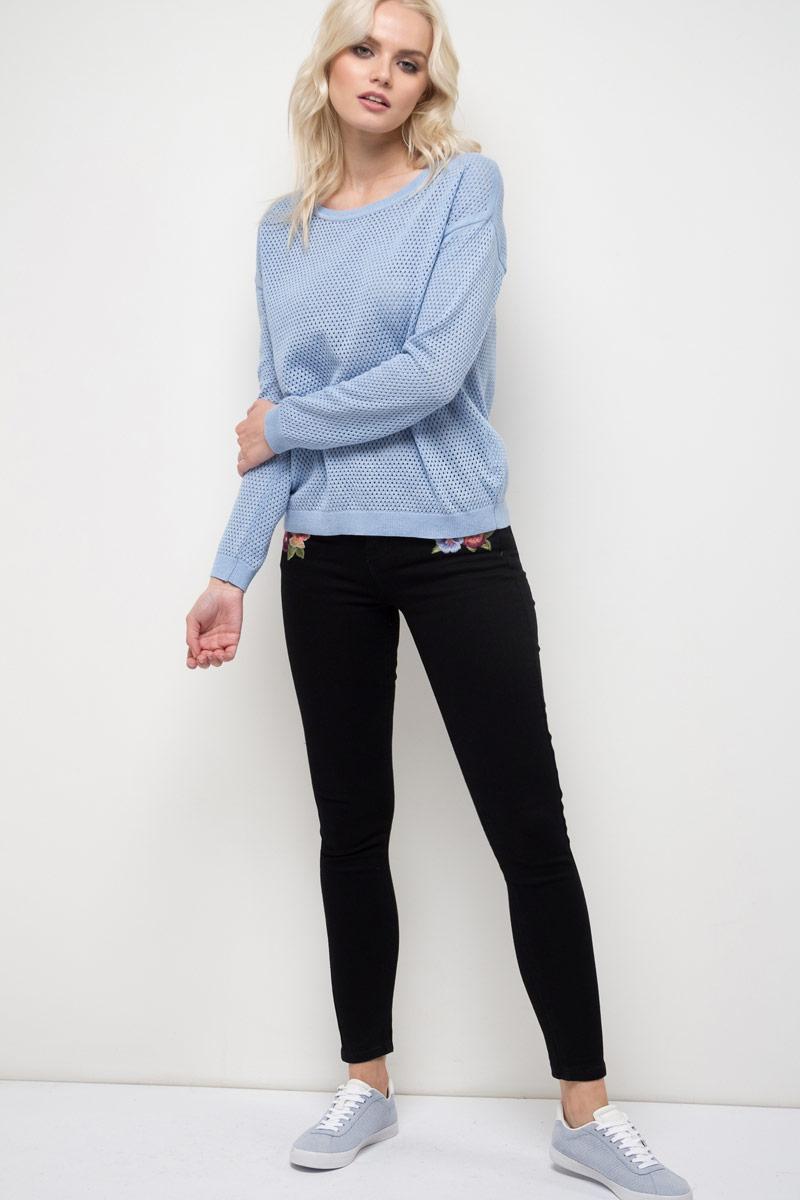 Джемпер женский Sela, цвет: голубой меланж. JR-314/998-8111. Размер M (46)JR-314/998-8111Джемпер женский Sela выполнен из хлопка и акрила. Модель с круглым вырезом горловины и длинными рукавами.