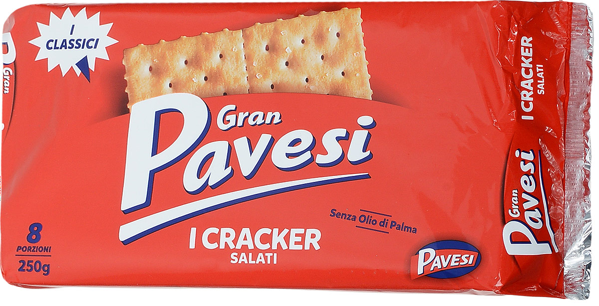 Gran Pavesi Cracker Salati крекер соленый, 250 г8013355998542Gran Pavesi Cracker Salati - классический соленый хрустящий крекер с уникальной структурой и насыщенным вкусом, приготовленный по традиционным итальянским рецептам на основе высококачественных и натуральных ингредиентов. Без гидрогенизированных жиров, консервантов и красителей.Уважаемые клиенты! Обращаем ваше внимание на то, что упаковка может иметь несколько видов дизайна. Поставка осуществляется в зависимости от наличия на складе.