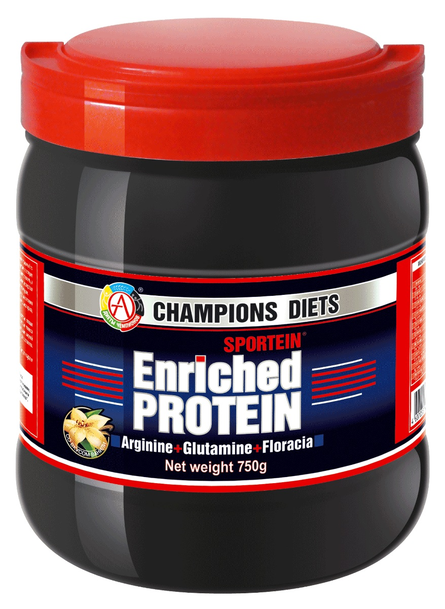 Протеин Академия-Т Sportein Enriched Protein, ваниль, 750 г00000000609Протеин Академия-Т Sportein Enriched Protein - инновационная анаболическая формула для наращивания сухой мышечной массы и ускоренного восстановления, содержащая качественный ультрафильтрационный сывороточный белок, с повышенным содержанием максимально биодоступных сывороточных пептидов. Благодаря улучшенной антикатаболической формуле, содержащей все необходимые витамины и микроэлементы, а также повышенное количество L-аргинина и L-глютамина (основные аминокислоты клеточного метаболизма), значительно снижаются отрицательные последствия катаболических процессов, повышается восстановление внутриклеточных запасов энергии и увеличивается синтез белка, что особенно важно в период тяжелых нагрузок. SPORTEIN Enriched Protein разработан российскими учеными в результате трехлетних научных исследований, проведенных на кафедре Технологии продуктов детского, функционального и спортивного питания Московского государственного университета прикладной биотехнологии.SPORTEIN Enriched Protein одобрен и сертифицирован Федеральной службой по надзору в сфере защиты прав потребителей и благополучия человека Министерством здравоохранения и социального развития РФ.Прием Спортеина приводит к значительному увеличению выработки гормона роста, к укреплению иммунной системы и предупреждению появления инфекций во время напряженных тренировок. Входящие в состав растворимые пребиотические биоволокна нормализуют функцию желудочно-кишечного тракта, усиливают детоксикационные функции печени и кишечника, снижая тем самым негативные последствия высокобелковой диеты. Продукт рекомендован Федеральным научным центром физической культуры и спорта как дополнительный источник белка в рационе силовых (бодибилдинг, тяжелая атлетика) и скоростно-силовых видов спорта (в том числе игровых) для быстрого набора сухой мышечной массы, ускорения процесса восстановления, сокращения сроков адаптации (как к физической нагрузке, так и к изменяющимся усло