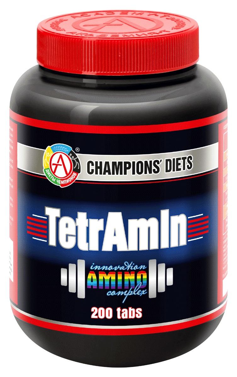 TetrAmin - уникальный аминокислотный комплекс, содержащий гидролизат концентрата белка молочной сыворотки и аминокислоты для восстановления организма после высоких физических нагрузок, роста мышечной массы и обеспечения организма необходимой энергией. Научно-обоснованный состав TetrAmin обеспечивает эффективное усвоение входящих в него аминокислот (максимальное повышение уровня аминокислот в крови фиксируется уже через 10-15 минут после приема).  Полезные эффекты TetrAmin: -ускоряет синтез мышечной массы и силы, благодаря содержанию аминокислот в форме пептидов и свободных аминокислот; -помогает снижать вес и улучшает форму тела; -формирует необходимый рельеф мускулатуры; -способствует расширению кровеносных сосудов и увеличивает кровоснабжение конечностей; -сокращает время восстановления после физических нагрузок и улучшает результаты тренировок; способствует нормализации кишечной микрофлоры. Гидролизат концентрата белка молочной сыворотки - полный сбалансированный набор аминокислот спортивного питания для построения мышечных белковых молекул в наиболее доступной для усвоения организмом форме. L-аргинин - незаменимая аминокислота, необходимая при высоких физических нагрузках для: -синтеза оксида азота поскольку является обязательным субстратом NO-синтаз; -нормализации сердечно-сосудистой системы, препятствуя образованию сгустков крови, которые могут вызывать инфаркты и инсульты; -активизации процессов поступления в кровоток инсулина, глюкагона и выброса гормона роста (анаболический эффект); -синтеза креатина в мышцах, повышая тем самым мышечную работоспособность; -стимуляции выработки тестостерона в организме, заметно повышая при этом половую функцию у мужчин; -ускорения синтеза гормона роста и других гормонов; - увеличения скорости заживления ран, растяжений и переломов.  L-лизин - незаменимая аминокислота, выполняющая в организме спортсмена следующие функции: -усиливает положительное действие аргинина и вместе с ним укрепляет иммунную систему организма; -способст