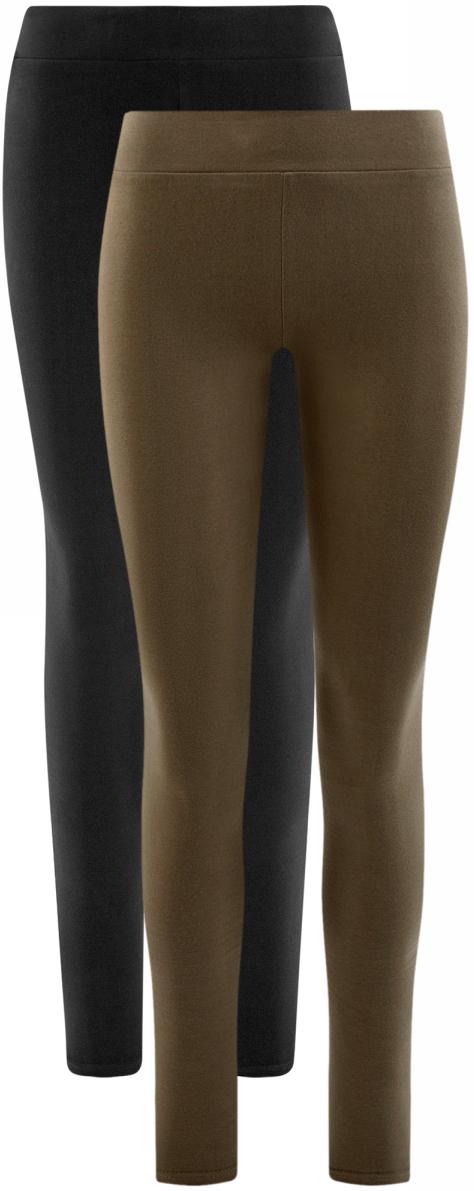 Леггинсы женские oodji Ultra, цвет: черный, коричневый, 2 шт. 18700046T2/47618/19NAN. Размер XXS (40)