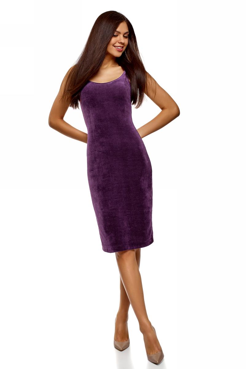 Платье oodji Ultra, цвет: темно-фиолетовый. 14015007-10B/48006/8801N. Размер XS (42)14015007-10B/48006/8801NПлатье-майка от oodji выполнено из хлопкового трикотажа. Модель облегающего кроя на широких бретелях и глубоким декольте сзади дополнена шлицей.