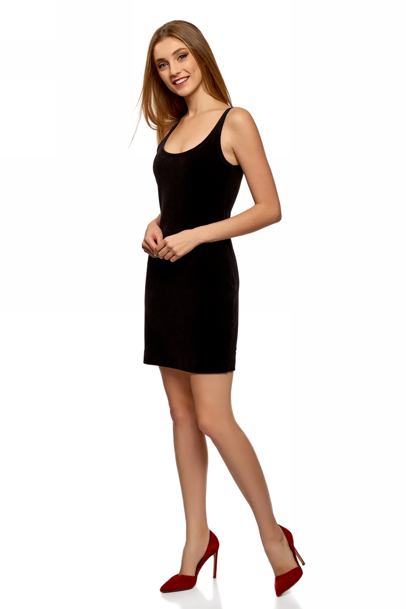 Платье oodji Ultra, цвет: черный. 14015017-1B/48470/2900N. Размер XL (50)