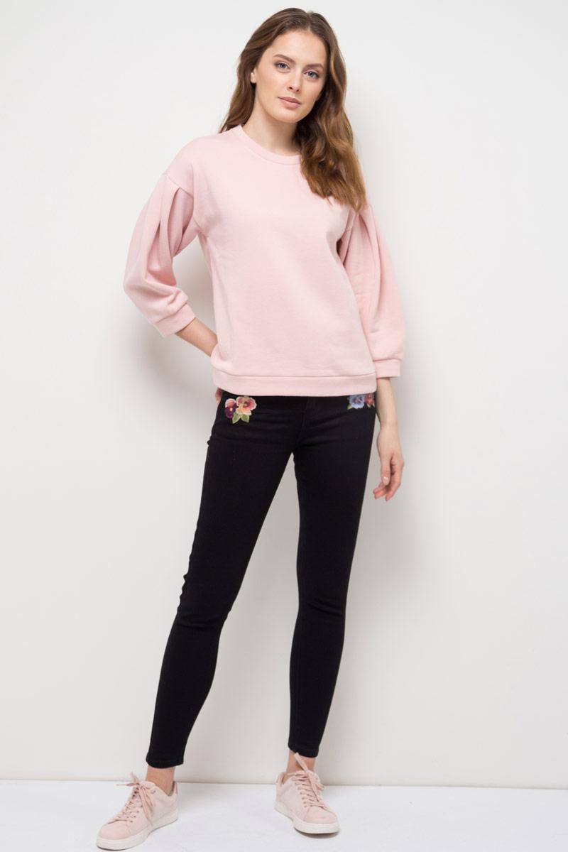 Джемпер женский Sela, цвет: серебристо-розовый. St-313/944-8111. Размер S (44)St-313/944-8111Джемпер женский Sela выполнен из хлопка и полиэстера. Модель с круглым вырезом горловины и длинными рукавами.