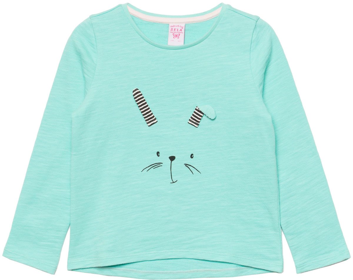 Джемпер для девочки Sela, цвет: голубой. St-513/454-8111. Размер 92St-513/454-8111Джемпер для девочки Sela выполнен из хлопка. Модель с круглым вырезом горловины и длинными рукавами.