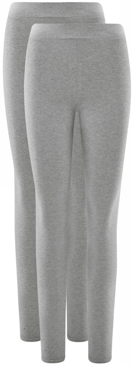 Леггинсы женские oodji Ultra, цвет: светло-серый меланж, 2 шт. 18700046T2/47618/2000M. Размер XS (42)
