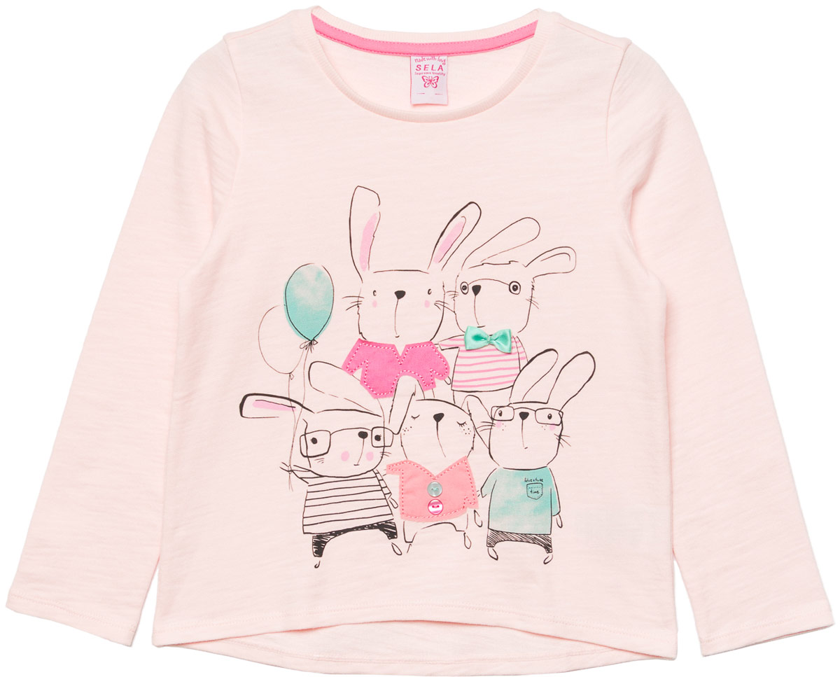 Джемпер для девочки Sela, цвет: светло-розовый. St-513/454-8111. Размер 98St-513/454-8111Джемпер для девочки Sela выполнен из хлопка. Модель с круглым вырезом горловины и длинными рукавами.