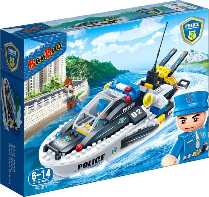 BanBao Пластиковый конструктор Полицейский катер 225 деталей
