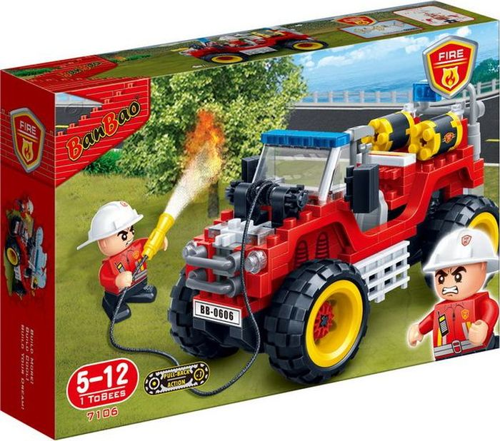 где купить BanBao Пластиковый конструктор Пожарный внедорожник 212 деталей по лучшей цене