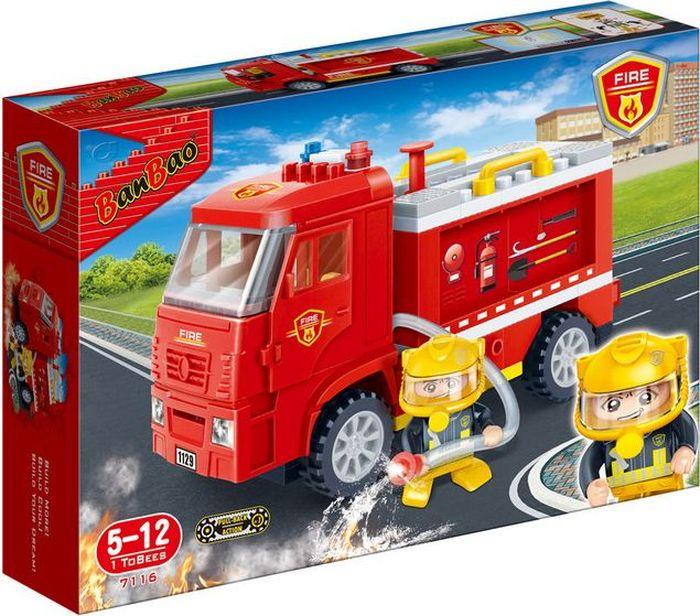 BanBao Пластиковый конструктор Пожарная машина инерционная 126 деталей banbao пластиковый конструктор истребитель 155 деталей