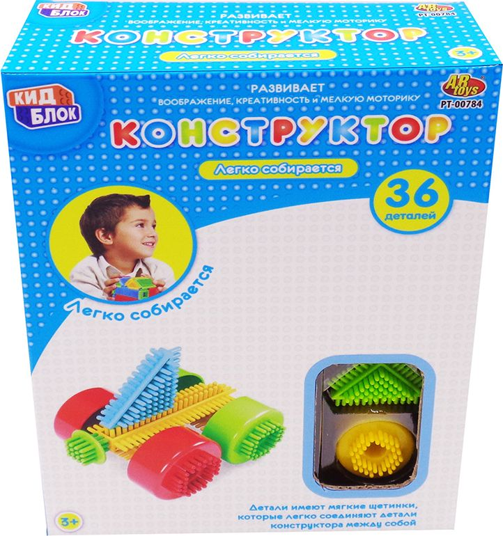 KidBlock Пластиковый конструктор Кид Блок со щетинками 36 деталей PT-00784